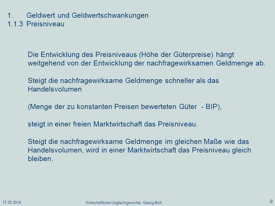 17.05.2014 Wirtschaftliche Ungleichgewichte /Georg Boll 9 Die Entwicklung des Preisniveaus (Höhe der Güterpreise) hängt weitgehend von der Entwicklung