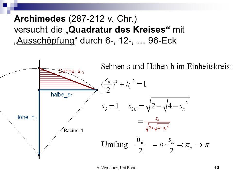 A. Wynands, Uni Bonn10 Archimedes (287-212 v. Chr.) versucht die Quadratur des Kreises mitAusschöpfung durch 6-, 12-, … 96-Eck