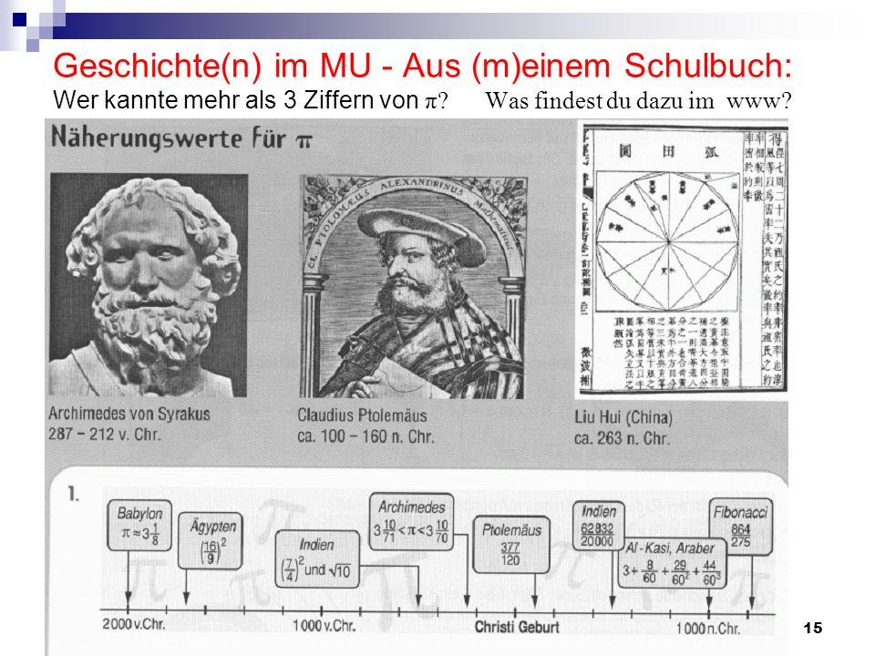 A. Wynands, Uni Bonn15 Geschichte(n) im MU - Aus (m)einem Schulbuch: Wer kannte mehr als 3 Ziffern von π? Was findest du dazu im www?
