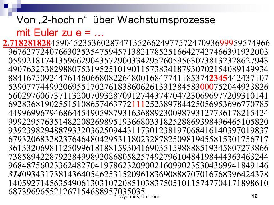 A. Wynands, Uni Bonn19 Von 2-hoch n über Wachstumsprozesse mit Euler zu e = … 2.718281828459045235360287471352662497757247093699959574966 967627724076
