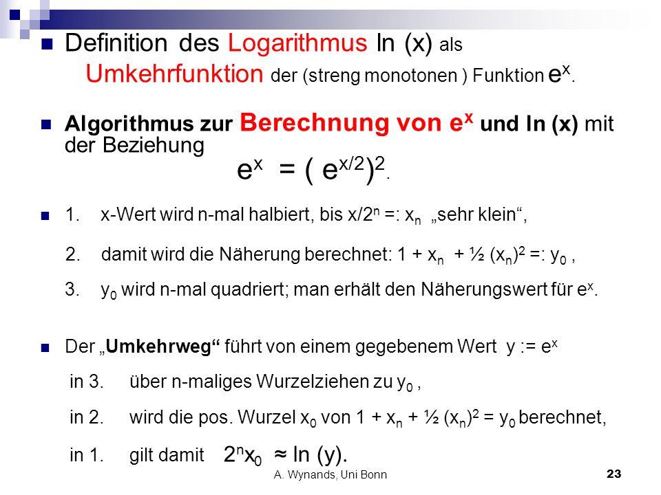 A. Wynands, Uni Bonn23 Definition des Logarithmus ln (x) als Umkehrfunktion der (streng monotonen ) Funktion e x. Algorithmus zur Berechnung von e x u