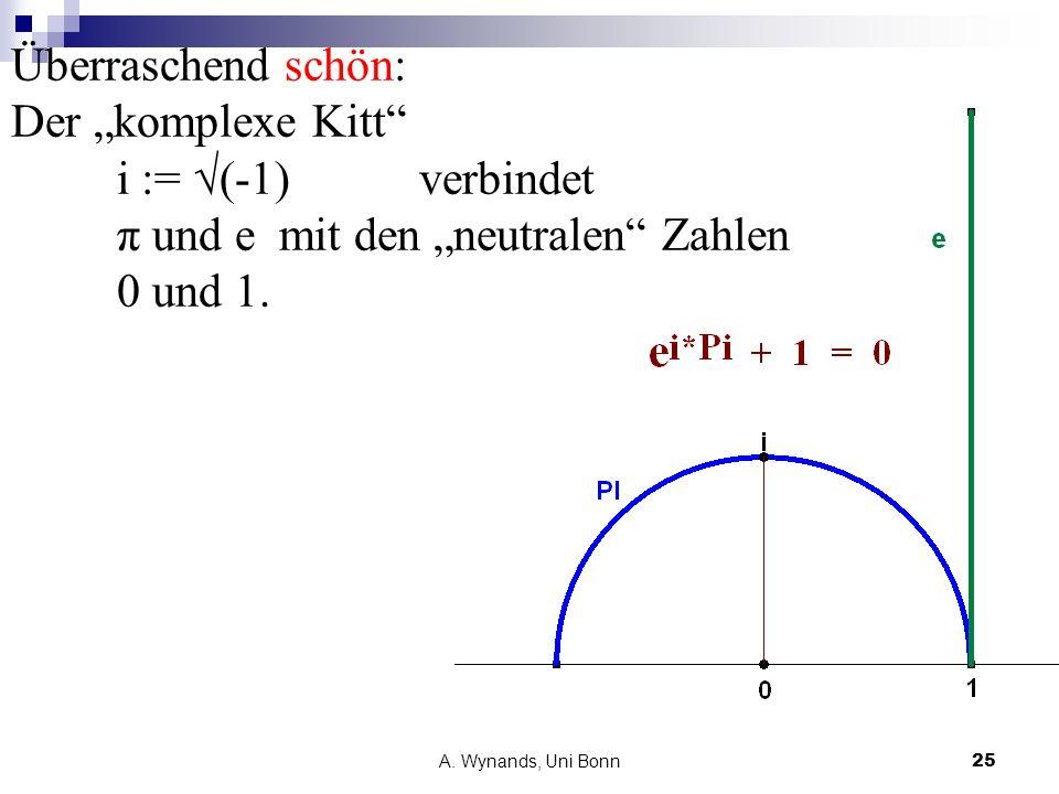 A. Wynands, Uni Bonn25 Überraschend schön: Der komplexe Kitt i := (-1) verbindet π und e mit den neutralen Zahlen 0 und 1.
