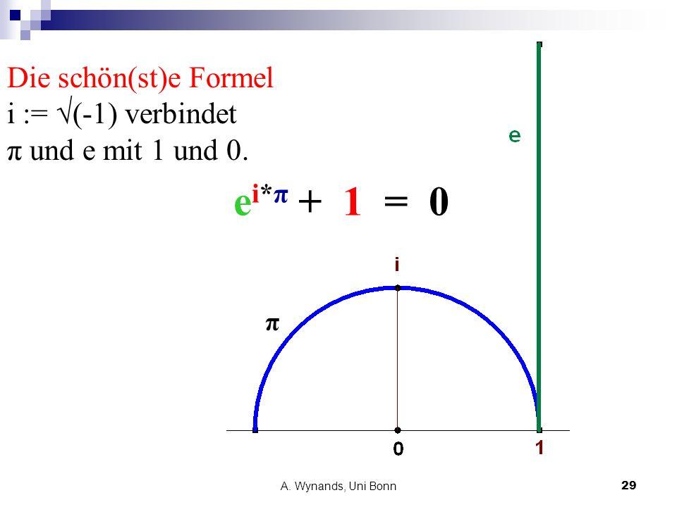 A. Wynands, Uni Bonn29 Die schön(st)e Formel i := (-1) verbindet π und e mit 1 und 0. π e i*π + 1 = 0