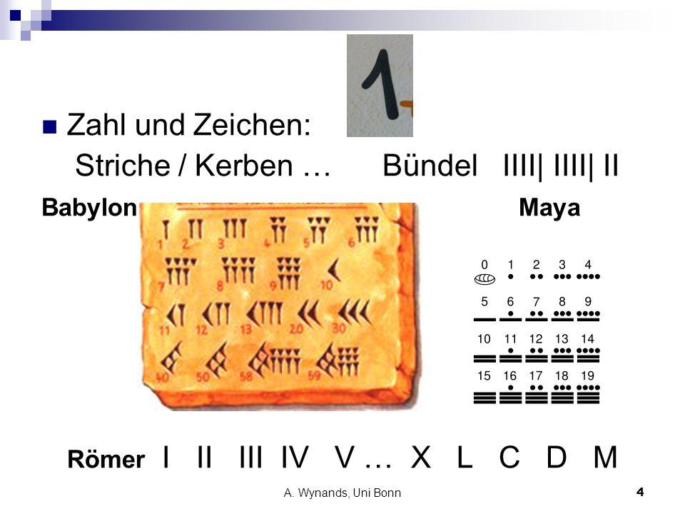 A. Wynands, Uni Bonn4 Zahl und Zeichen: Striche / Kerben … Bündel IIII| IIII| II Babylon Maya Römer I II III IV V … X L C D M
