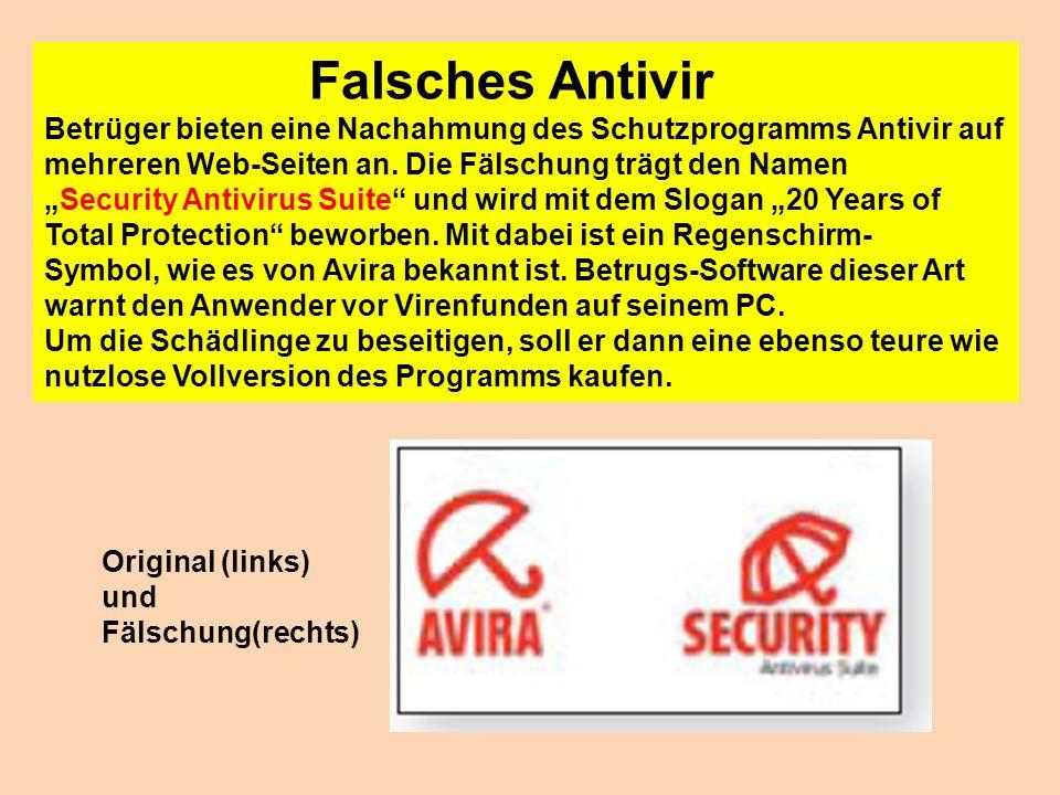 Falsches Antivir Betrüger bieten eine Nachahmung des Schutzprogramms Antivir auf mehreren Web-Seiten an. Die Fälschung trägt den Namen Security Antivi