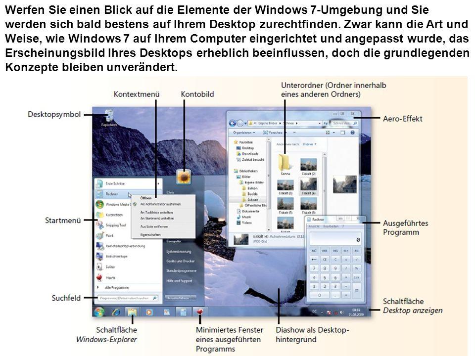 Werfen Sie einen Blick auf die Elemente der Windows 7-Umgebung und Sie werden sich bald bestens auf Ihrem Desktop zurechtfinden. Zwar kann die Art und
