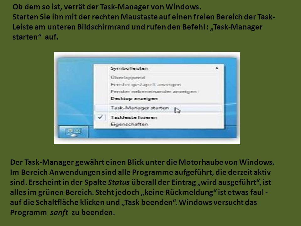 Ob dem so ist, verrät der Task-Manager von Windows. Starten Sie ihn mit der rechten Maustaste auf einen freien Bereich der Task- Leiste am unteren Bil