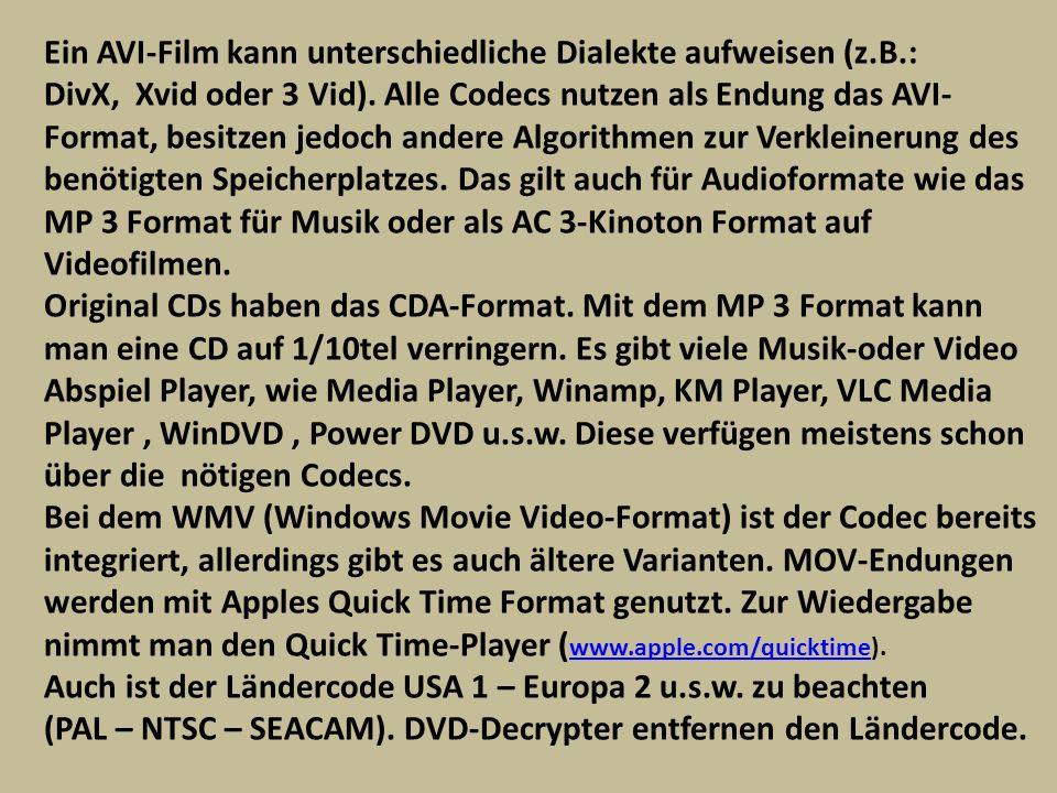Ein AVI-Film kann unterschiedliche Dialekte aufweisen (z.B.: DivX, Xvid oder 3 Vid). Alle Codecs nutzen als Endung das AVI- Format, besitzen jedoch an