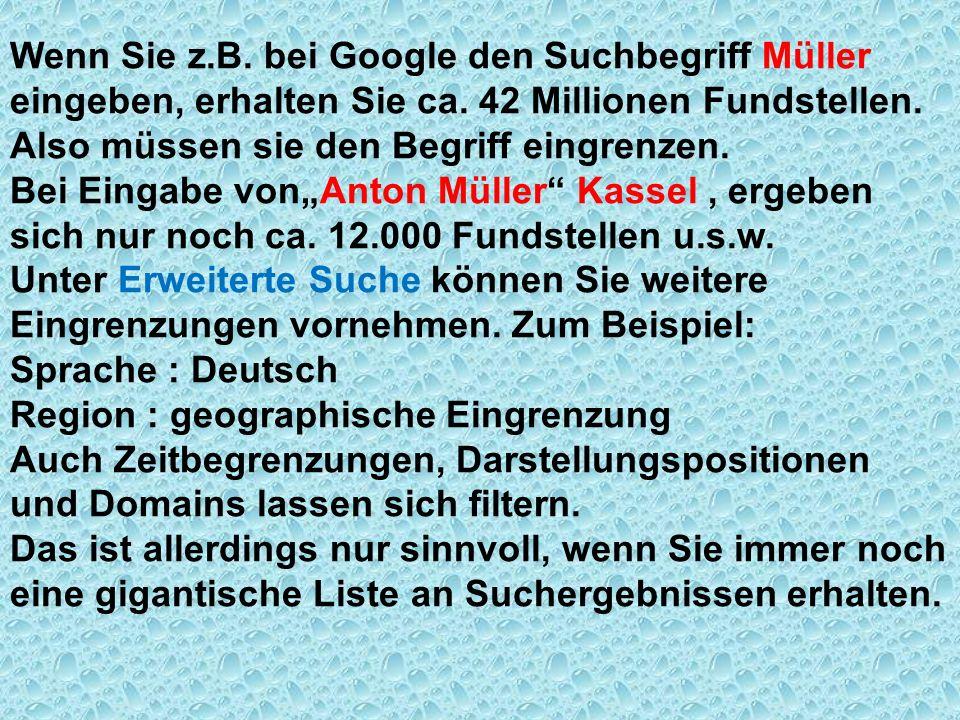 Wenn Sie z.B. bei Google den Suchbegriff Müller eingeben, erhalten Sie ca. 42 Millionen Fundstellen. Also müssen sie den Begriff eingrenzen. Bei Einga