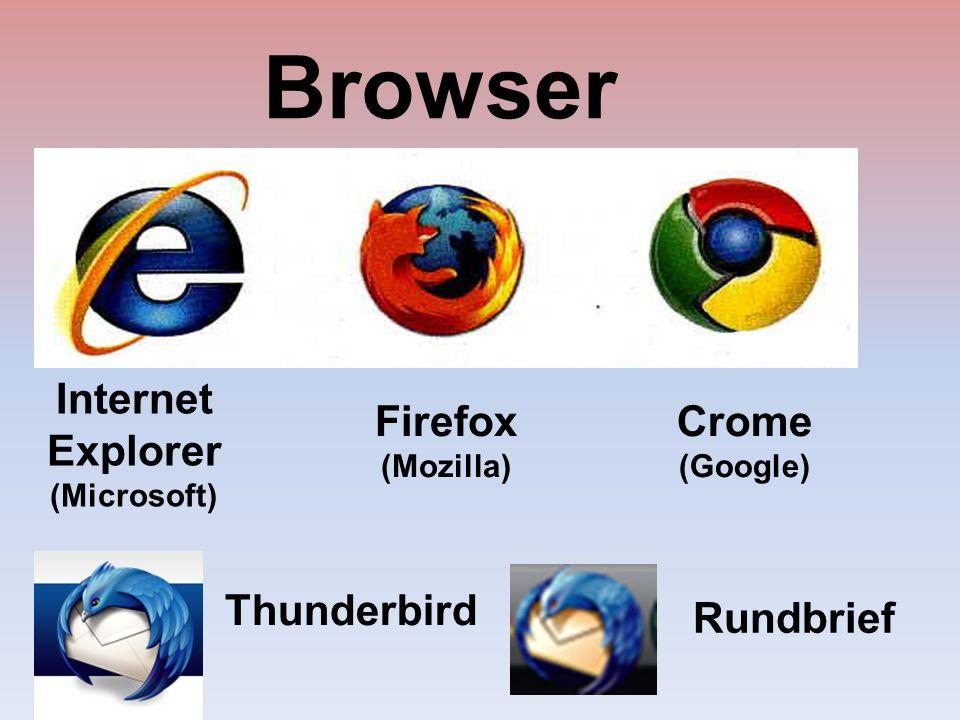 Browser Internet Explorer (Microsoft) Crome (Google) Firefox (Mozilla) Thunderbird Rundbrief