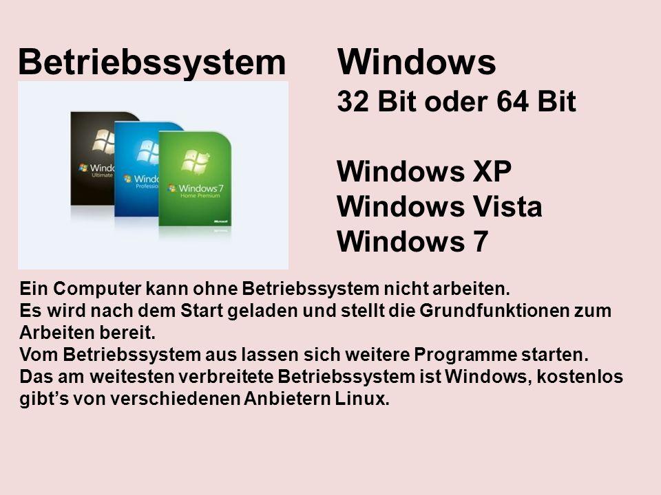 Betriebssystem Windows 32 Bit oder 64 Bit Windows XP Windows Vista Windows 7 Ein Computer kann ohne Betriebssystem nicht arbeiten. Es wird nach dem St
