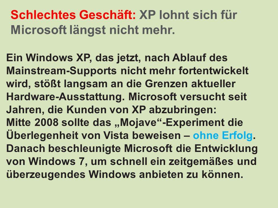 Schlechtes Geschäft: XP lohnt sich für Microsoft längst nicht mehr. Ein Windows XP, das jetzt, nach Ablauf des Mainstream-Supports nicht mehr fortentw