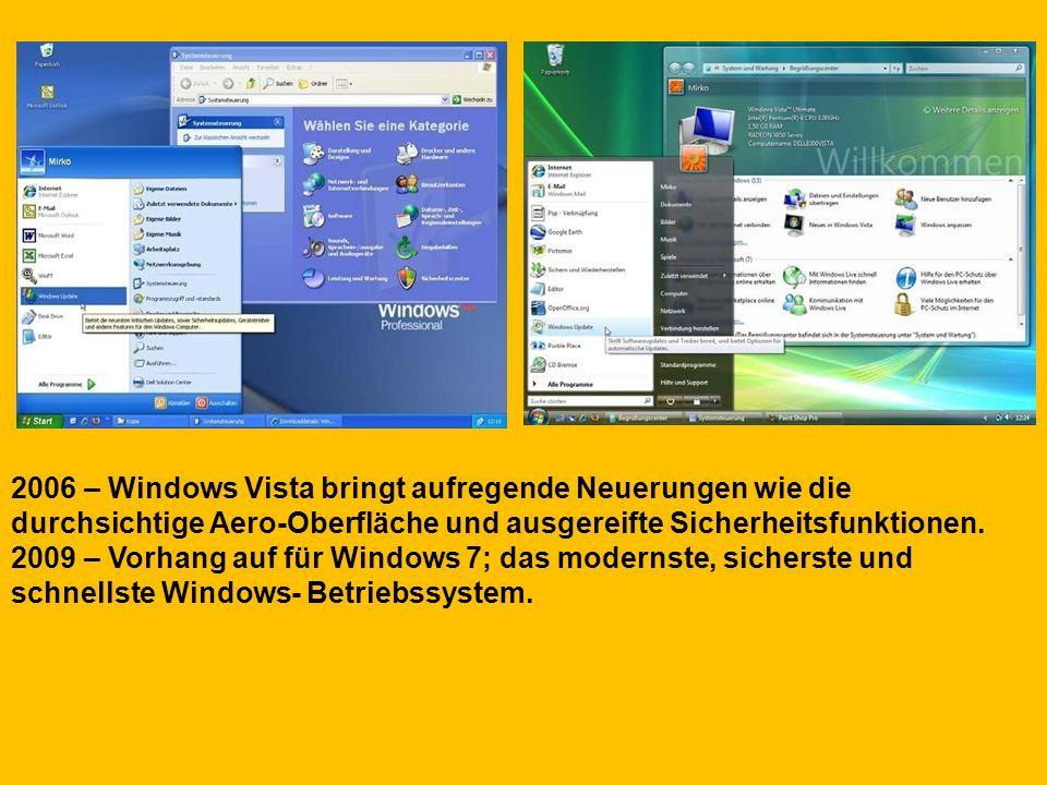2006 – Windows Vista bringt aufregende Neuerungen wie die durchsichtige Aero-Oberfläche und ausgereifte Sicherheitsfunktionen. 2009 – Vorhang auf für