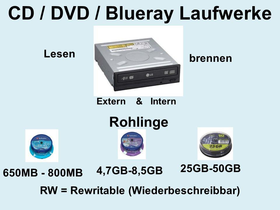 CD / DVD / Blueray Laufwerke 650MB - 800MB 4,7GB-8,5GB 25GB-50GB Lesen brennen RW = Rewritable (Wiederbeschreibbar) Extern & Intern Rohlinge