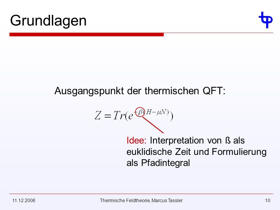 11.12.2006Thermische Feldtheorie, Marcus Tassler10 Grundlagen Ausgangspunkt der thermischen QFT: Idee: Interpretation von ß als euklidische Zeit und Formulierung als Pfadintegral