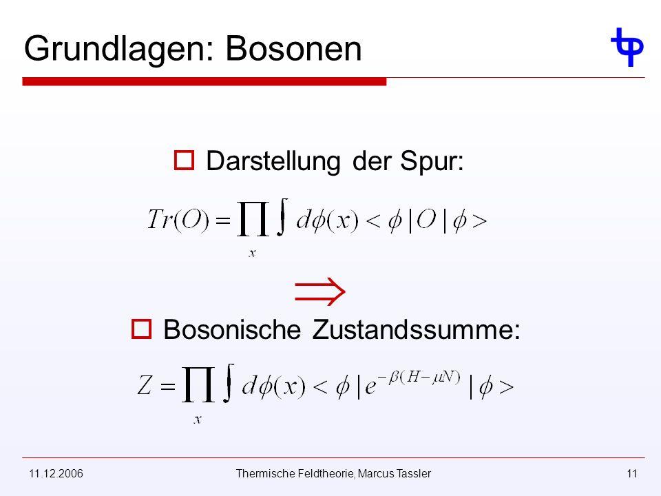 11.12.2006Thermische Feldtheorie, Marcus Tassler11 Grundlagen: Bosonen Darstellung der Spur: Bosonische Zustandssumme:
