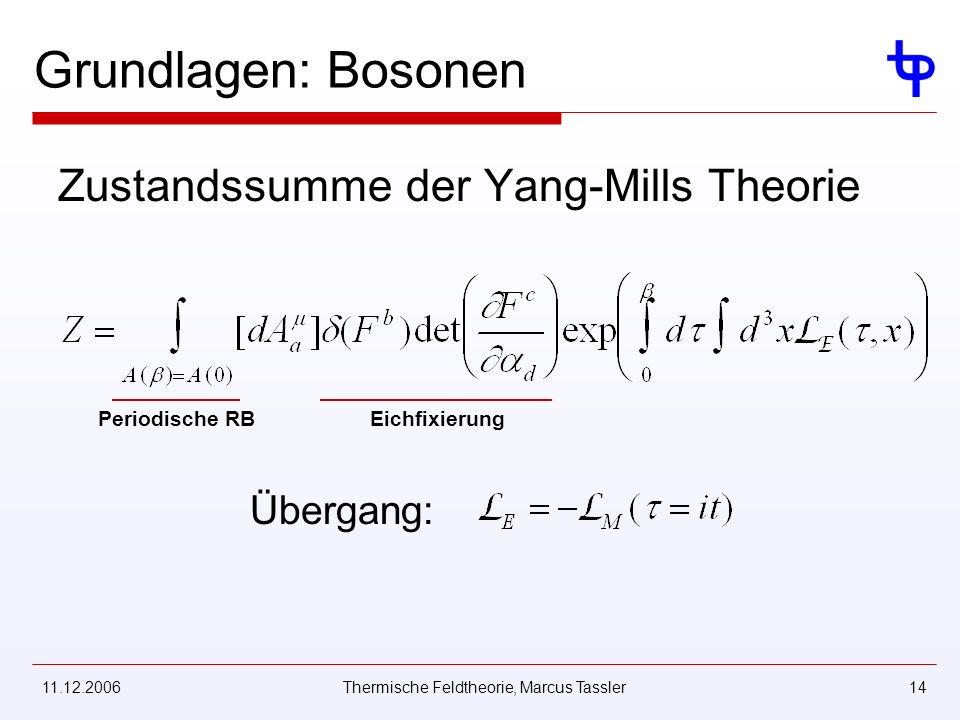 11.12.2006Thermische Feldtheorie, Marcus Tassler14 Grundlagen: Bosonen Zustandssumme der Yang-Mills Theorie Periodische RBEichfixierung Übergang: