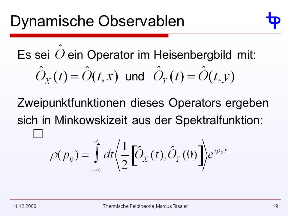 11.12.2006Thermische Feldtheorie, Marcus Tassler19 Dynamische Observablen Es seiein Operator im Heisenbergbild mit: und Zweipunktfunktionen dieses Operators ergeben sich in Minkowskizeit aus der Spektralfunktion: