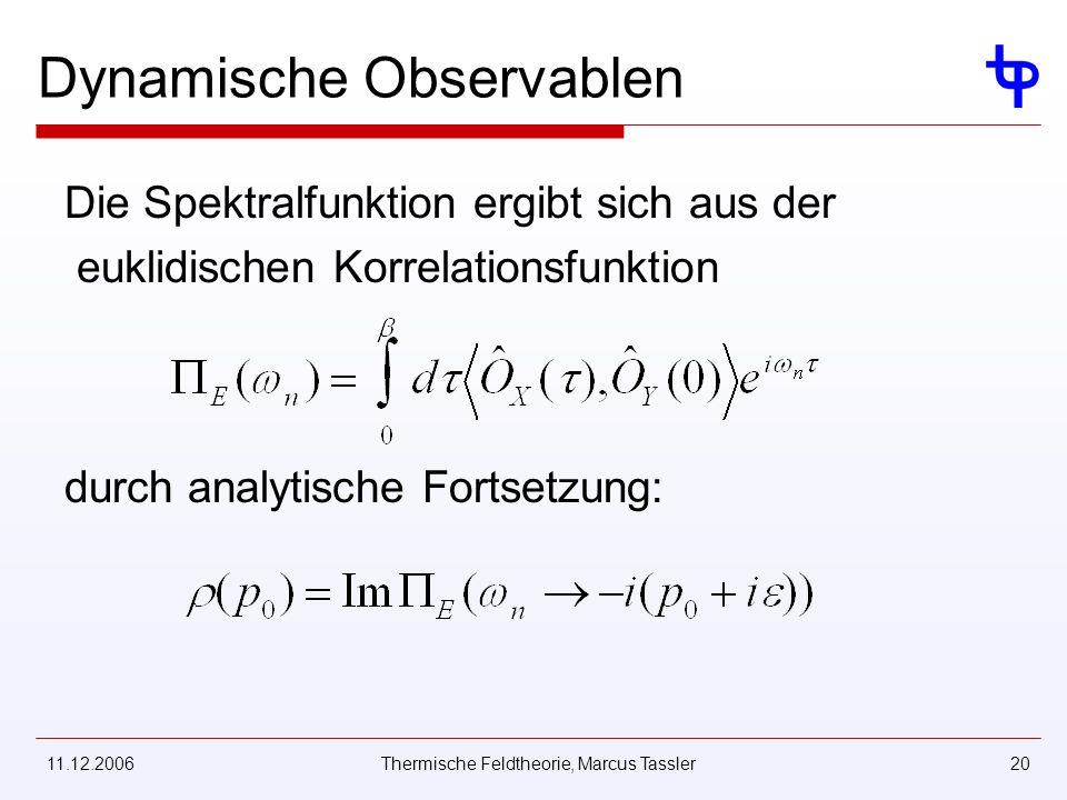 11.12.2006Thermische Feldtheorie, Marcus Tassler20 Dynamische Observablen Die Spektralfunktion ergibt sich aus der euklidischen Korrelationsfunktion durch analytische Fortsetzung: