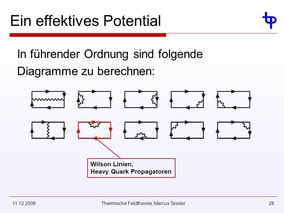 11.12.2006Thermische Feldtheorie, Marcus Tassler28 Ein effektives Potential In führender Ordnung sind folgende Diagramme zu berechnen: Wilson Linien, Heavy Quark Propagatoren