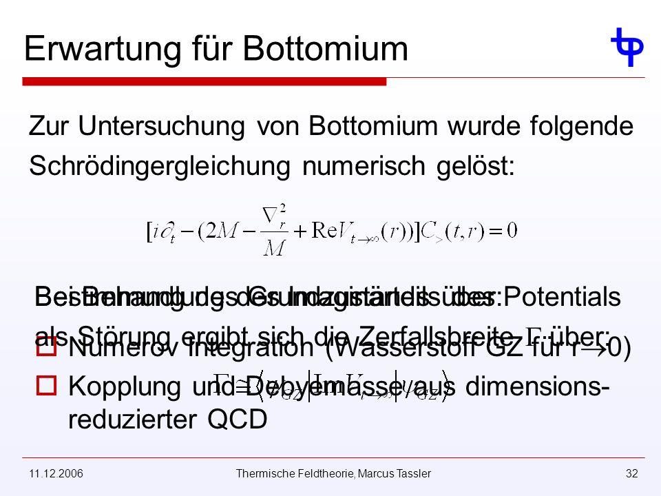 11.12.2006Thermische Feldtheorie, Marcus Tassler32 Erwartung für Bottomium Zur Untersuchung von Bottomium wurde folgende Schrödingergleichung numerisch gelöst: Bestimmung des Grundzustands über: Numerov Integration (Wasserstoff GZ für r 0) Kopplung und Debyemasse aus dimensions- reduzierter QCD Bei Behandlung des Imaginärteils des Potentials als Störung ergibt sich die Zerfallsbreite über: