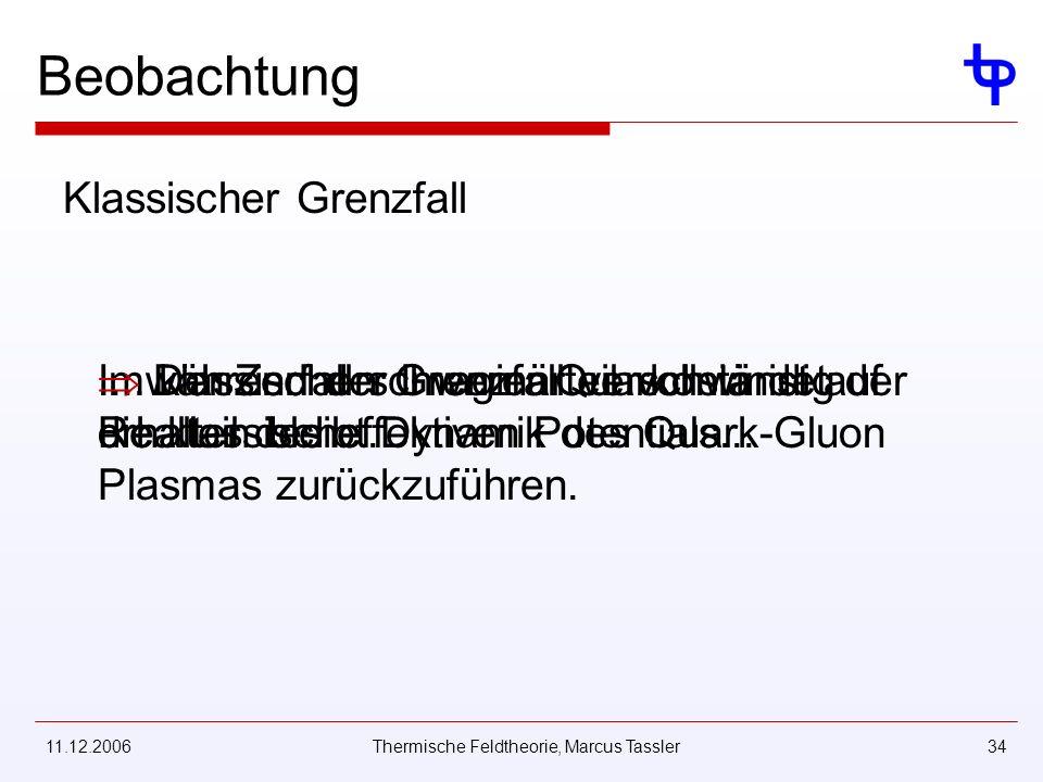 11.12.2006Thermische Feldtheorie, Marcus Tassler34 Beobachtung Klassischer Grenzfall Im klassischen Grenzfall verschwindet der Realteil des effektiven Potentials.......während der Imaginärteil vollständig erhalten bleibt.