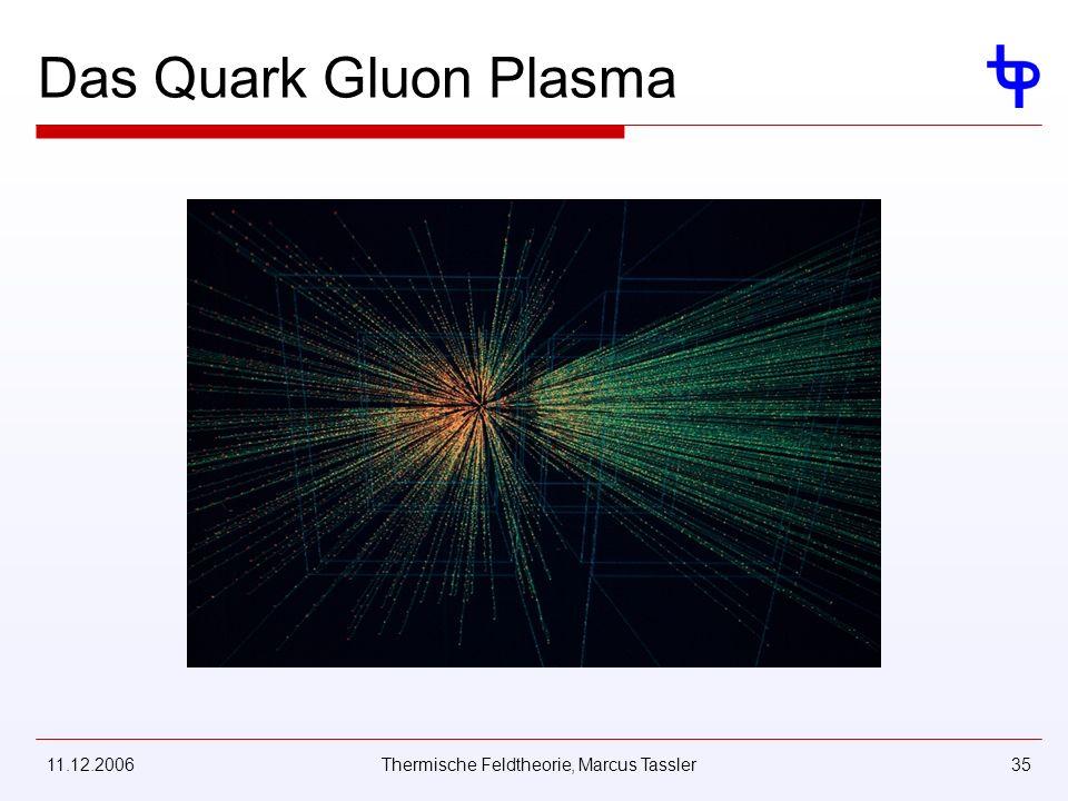 11.12.2006Thermische Feldtheorie, Marcus Tassler35 Das Quark Gluon Plasma