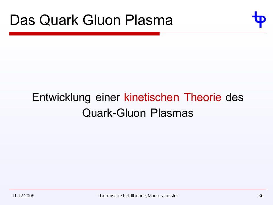 11.12.2006Thermische Feldtheorie, Marcus Tassler36 Das Quark Gluon Plasma Entwicklung einer kinetischen Theorie des Quark-Gluon Plasmas