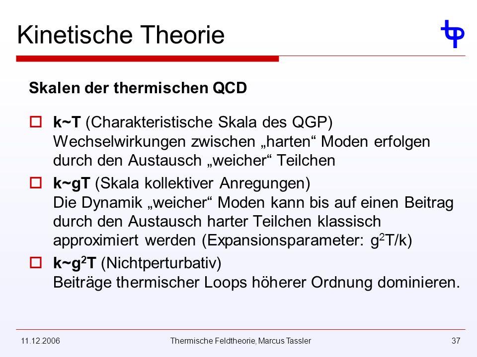 11.12.2006Thermische Feldtheorie, Marcus Tassler37 Kinetische Theorie Skalen der thermischen QCD k~T (Charakteristische Skala des QGP) Wechselwirkungen zwischen harten Moden erfolgen durch den Austausch weicher Teilchen k~gT (Skala kollektiver Anregungen) Die Dynamik weicher Moden kann bis auf einen Beitrag durch den Austausch harter Teilchen klassisch approximiert werden (Expansionsparameter: g 2 T/k) k~g 2 T (Nichtperturbativ) Beiträge thermischer Loops höherer Ordnung dominieren.