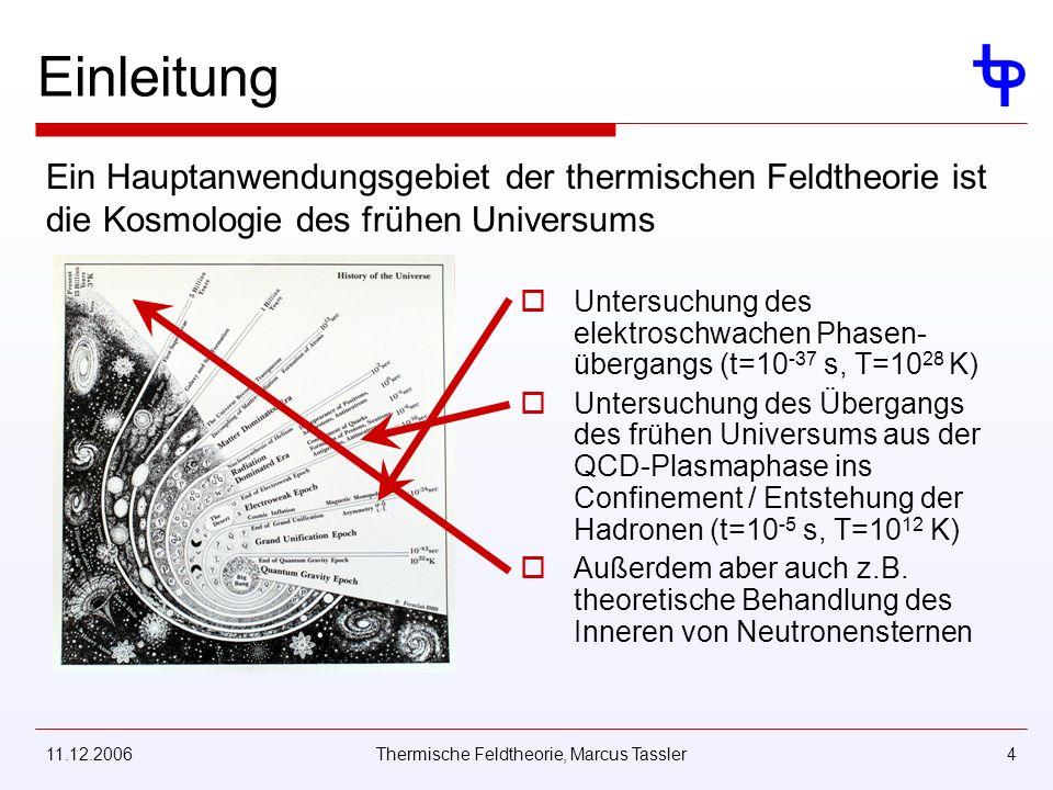 11.12.2006Thermische Feldtheorie, Marcus Tassler4 Einleitung Untersuchung des elektroschwachen Phasen- übergangs (t=10 -37 s, T=10 28 K) Untersuchung des Übergangs des frühen Universums aus der QCD-Plasmaphase ins Confinement / Entstehung der Hadronen (t=10 -5 s, T=10 12 K) Außerdem aber auch z.B.