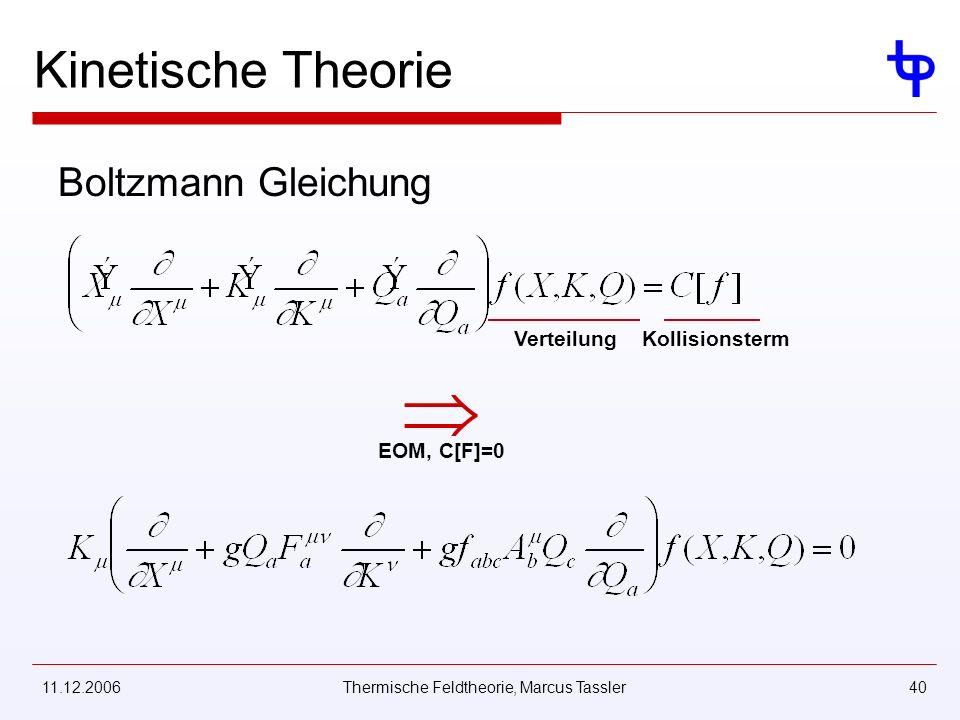 11.12.2006Thermische Feldtheorie, Marcus Tassler40 Kinetische Theorie Boltzmann Gleichung VerteilungKollisionsterm EOM, C[F]=0