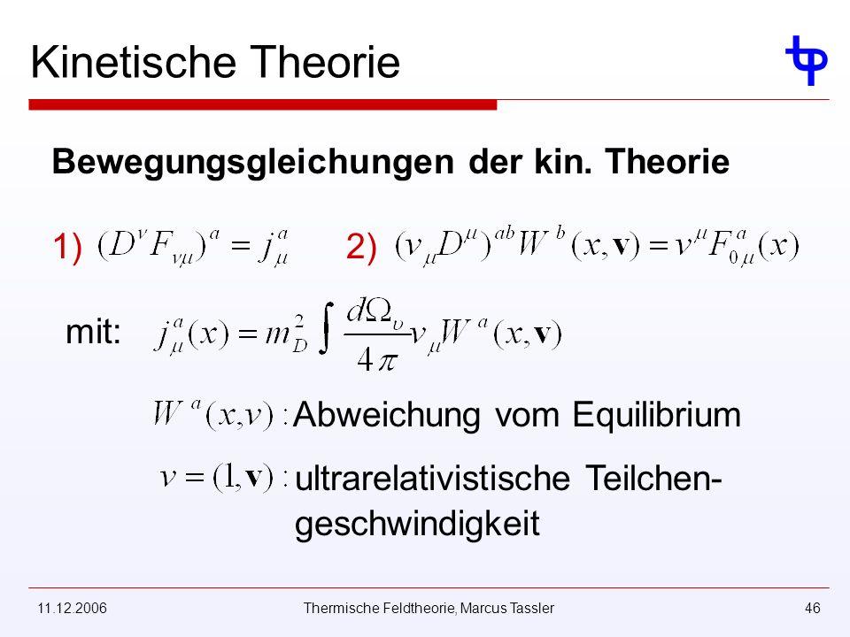 11.12.2006Thermische Feldtheorie, Marcus Tassler46 mit: Abweichung vom Equilibrium ultrarelativistische Teilchen- geschwindigkeit Kinetische Theorie Bewegungsgleichungen der kin.