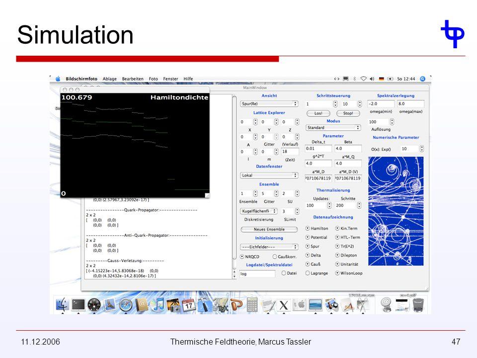 11.12.2006Thermische Feldtheorie, Marcus Tassler47 Simulation