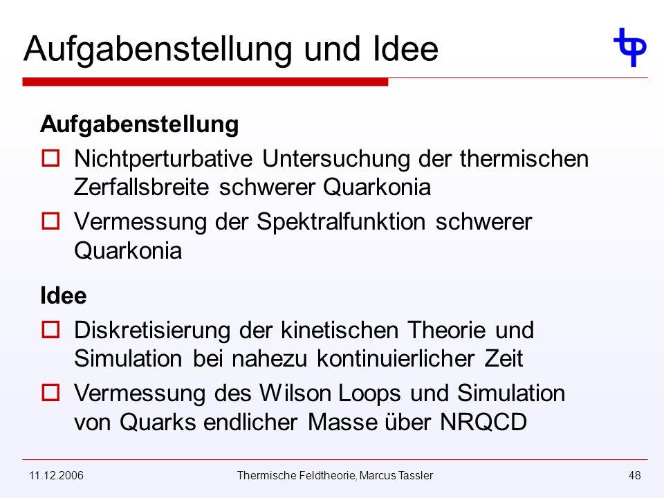11.12.2006Thermische Feldtheorie, Marcus Tassler48 Aufgabenstellung und Idee Aufgabenstellung Nichtperturbative Untersuchung der thermischen Zerfallsbreite schwerer Quarkonia Vermessung der Spektralfunktion schwerer Quarkonia Idee Diskretisierung der kinetischen Theorie und Simulation bei nahezu kontinuierlicher Zeit Vermessung des Wilson Loops und Simulation von Quarks endlicher Masse über NRQCD