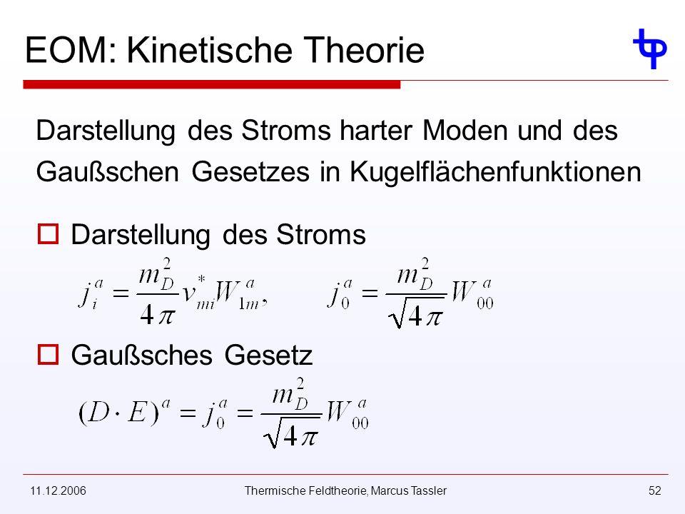 11.12.2006Thermische Feldtheorie, Marcus Tassler52 EOM: Kinetische Theorie Darstellung des Stroms harter Moden und des Gaußschen Gesetzes in Kugelfläc