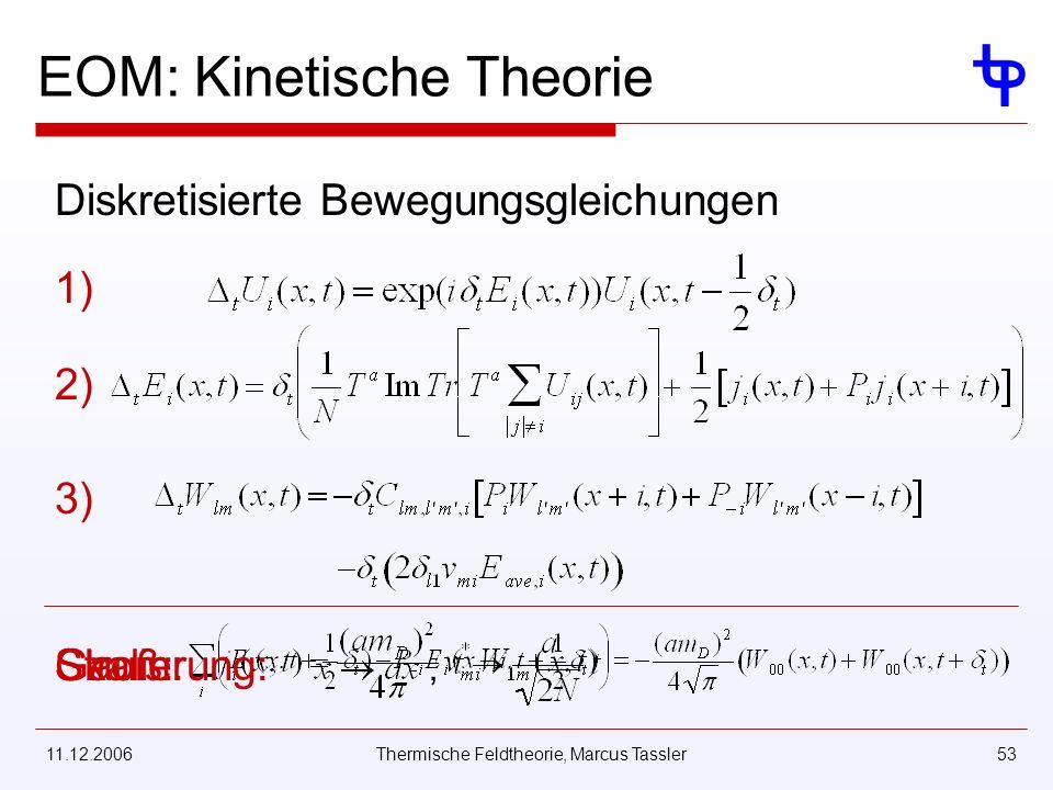 11.12.2006Thermische Feldtheorie, Marcus Tassler53 EOM: Kinetische Theorie Diskretisierte Bewegungsgleichungen 1) 2) 3) Strom:Gauß:Skalierung:,