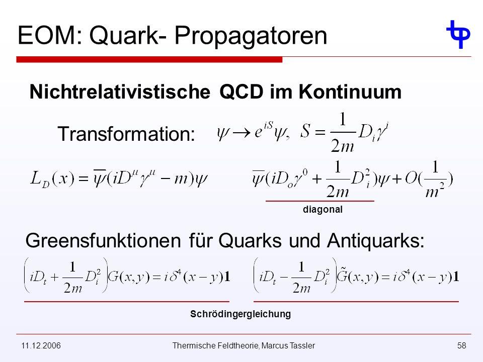 11.12.2006Thermische Feldtheorie, Marcus Tassler58 EOM: Quark- Propagatoren Nichtrelativistische QCD im Kontinuum Transformation: diagonal Greensfunktionen für Quarks und Antiquarks: Schrödingergleichung
