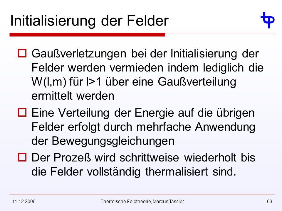 11.12.2006Thermische Feldtheorie, Marcus Tassler63 Initialisierung der Felder Gaußverletzungen bei der Initialisierung der Felder werden vermieden indem lediglich die W(l,m) für l>1 über eine Gaußverteilung ermittelt werden Eine Verteilung der Energie auf die übrigen Felder erfolgt durch mehrfache Anwendung der Bewegungsgleichungen Der Prozeß wird schrittweise wiederholt bis die Felder vollständig thermalisiert sind.