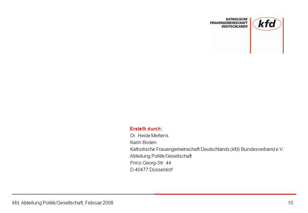 kfd, Abteilung Politik/Gesellschaft, Februar 200810 Erstellt durch: Dr. Heide Mertens Karin Boden Katholische Frauengemeinschaft Deutschlands (kfd) Bu
