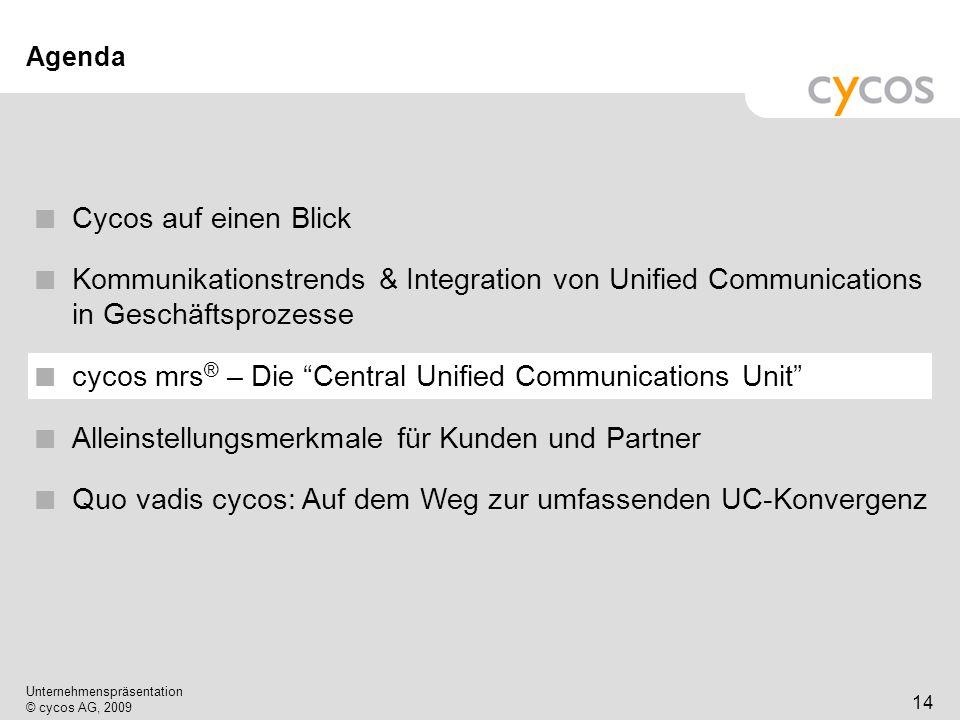 Kurztitel Unternehmenspräsentation © cycos AG, 2009 15 Einführung der Multimedia Routing Software (mrs) von cycos Streamlining der Kommunikationskanäle beider Welten.