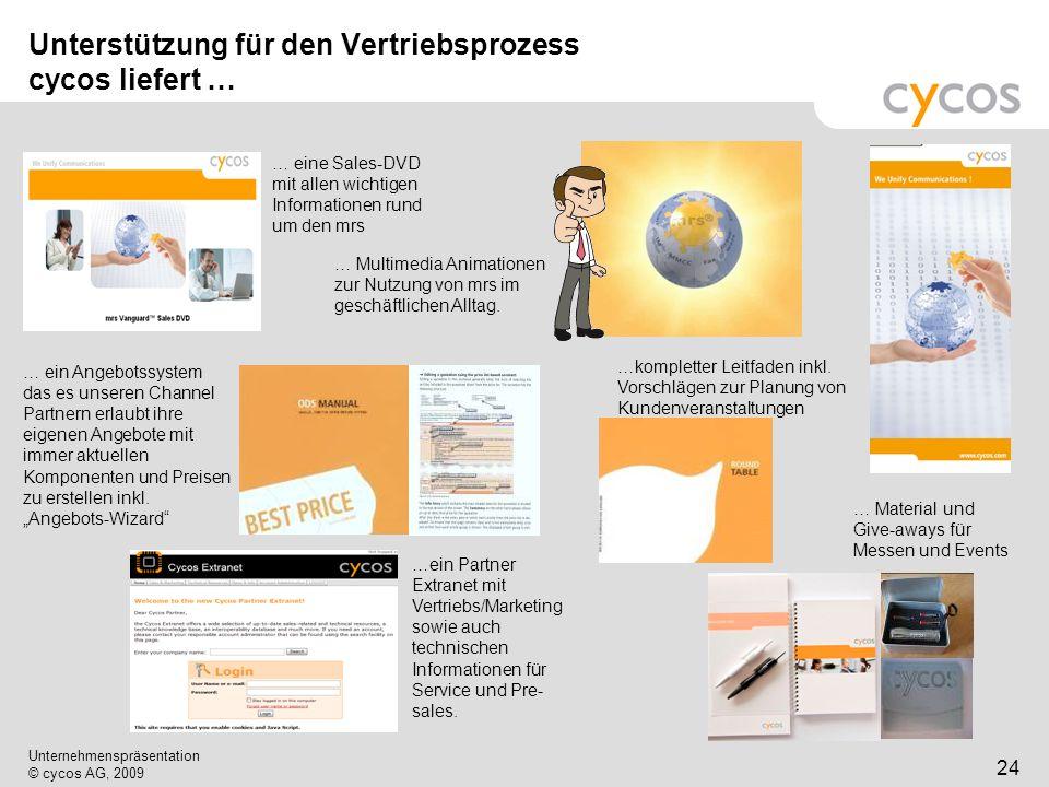 Kurztitel Unternehmenspräsentation © cycos AG, 2009 24 Unterstützung für den Vertriebsprozess cycos liefert … … ein Angebotssystem das es unseren Chan