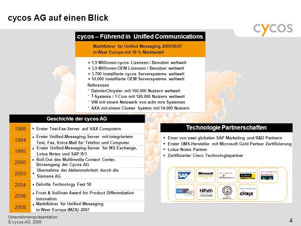 Kurztitel Unternehmenspräsentation © cycos AG, 2009 5 cycos ist … OEM / Channel Business … ein Vertriebs- unternehmen … ein Service- unternehmen … ein Entwicklungs- unternehmen
