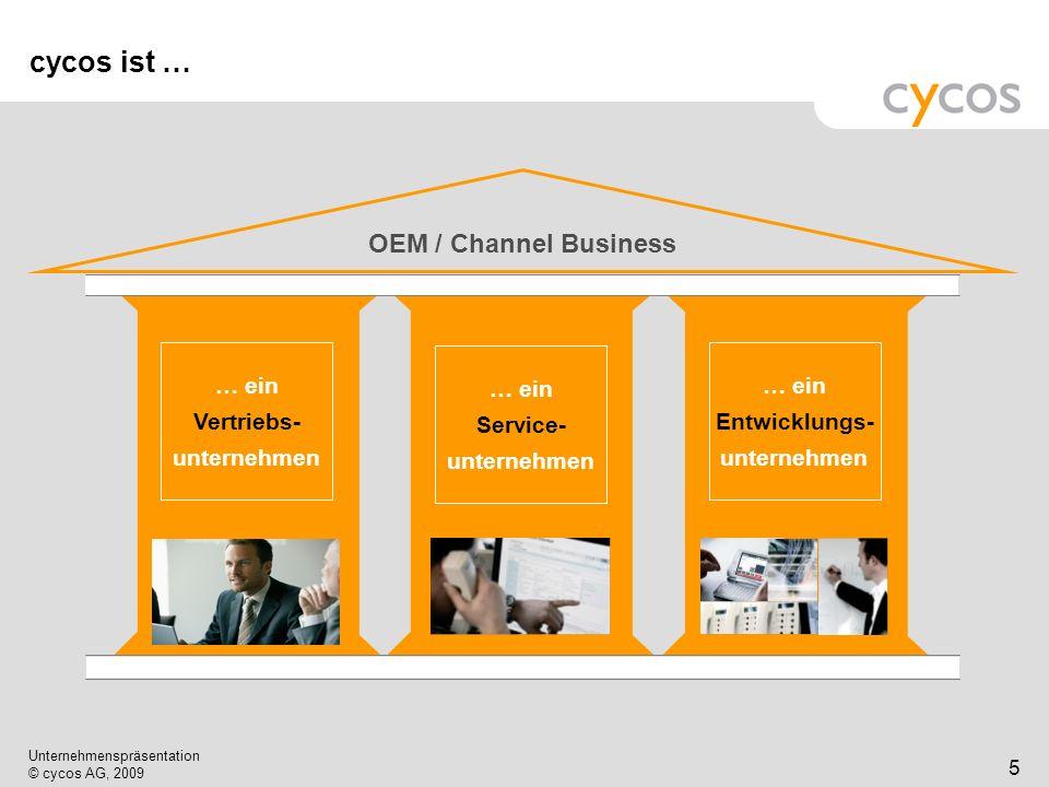 Kurztitel Unternehmenspräsentation © cycos AG, 2009 5 cycos ist … OEM / Channel Business … ein Vertriebs- unternehmen … ein Service- unternehmen … ein