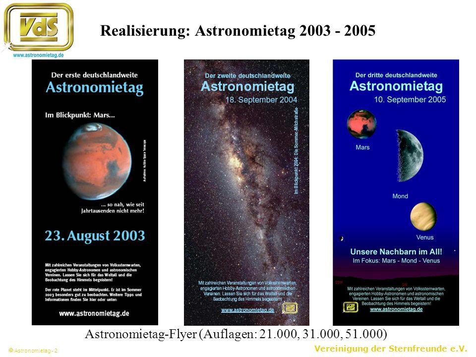 Vereinigung der Sternfreunde e.V. Astronomietag - 2 Realisierung: Astronomietag 2003 - 2005 Astronomietag-Flyer (Auflagen: 21.000, 31.000, 51.000)