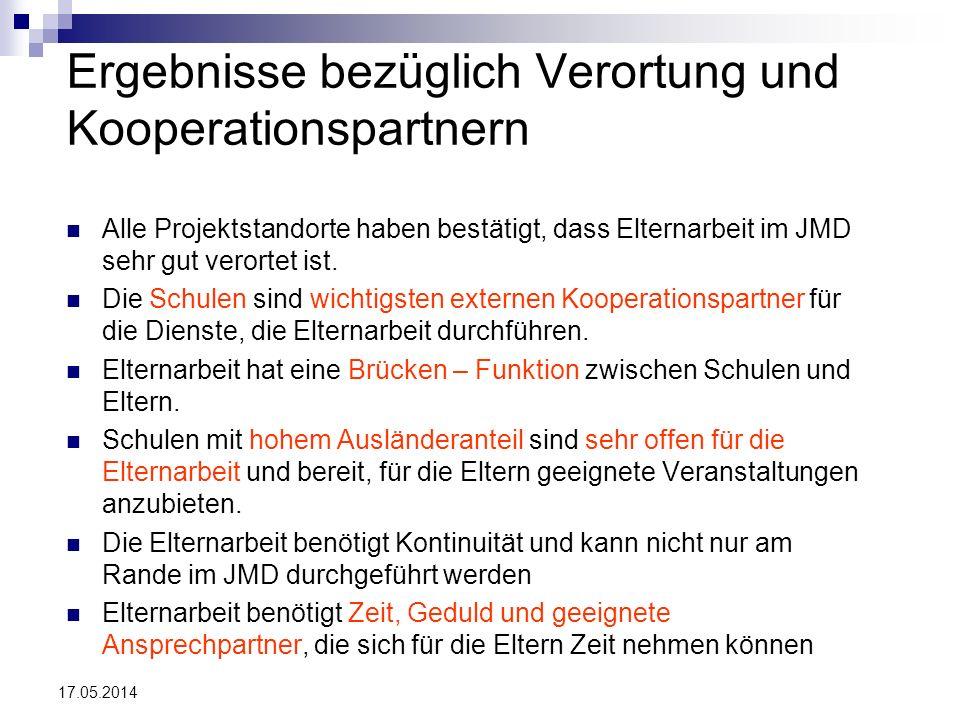 17.05.2014 Ergebnisse bezüglich Verortung und Kooperationspartnern Alle Projektstandorte haben bestätigt, dass Elternarbeit im JMD sehr gut verortet i