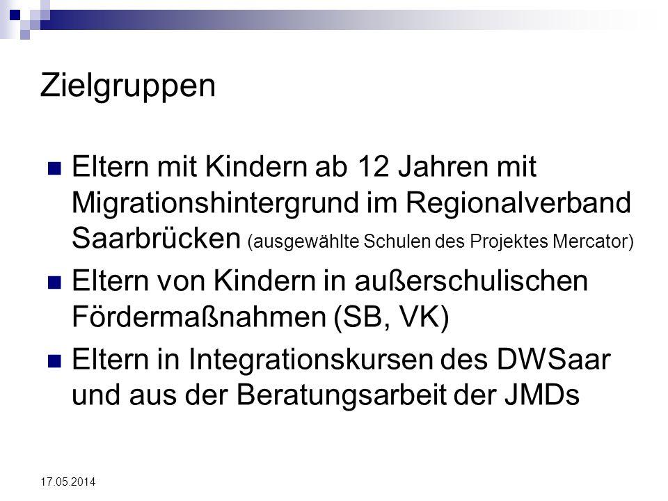 17.05.2014 Zielgruppen Eltern mit Kindern ab 12 Jahren mit Migrationshintergrund im Regionalverband Saarbrücken (ausgewählte Schulen des Projektes Mer