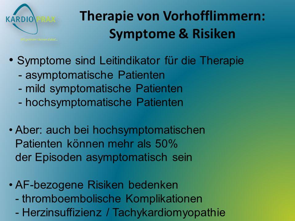Therapie von Vorhofflimmern: Symptome & Risiken Symptome sind Leitindikator für die Therapie - asymptomatische Patienten - mild symptomatische Patienten - hochsymptomatische Patienten Aber: auch bei hochsymptomatischen Patienten können mehr als 50% der Episoden asymptomatisch sein AF-bezogene Risiken bedenken - thromboembolische Komplikationen - Herzinsuffizienz / Tachykardiomyopathie