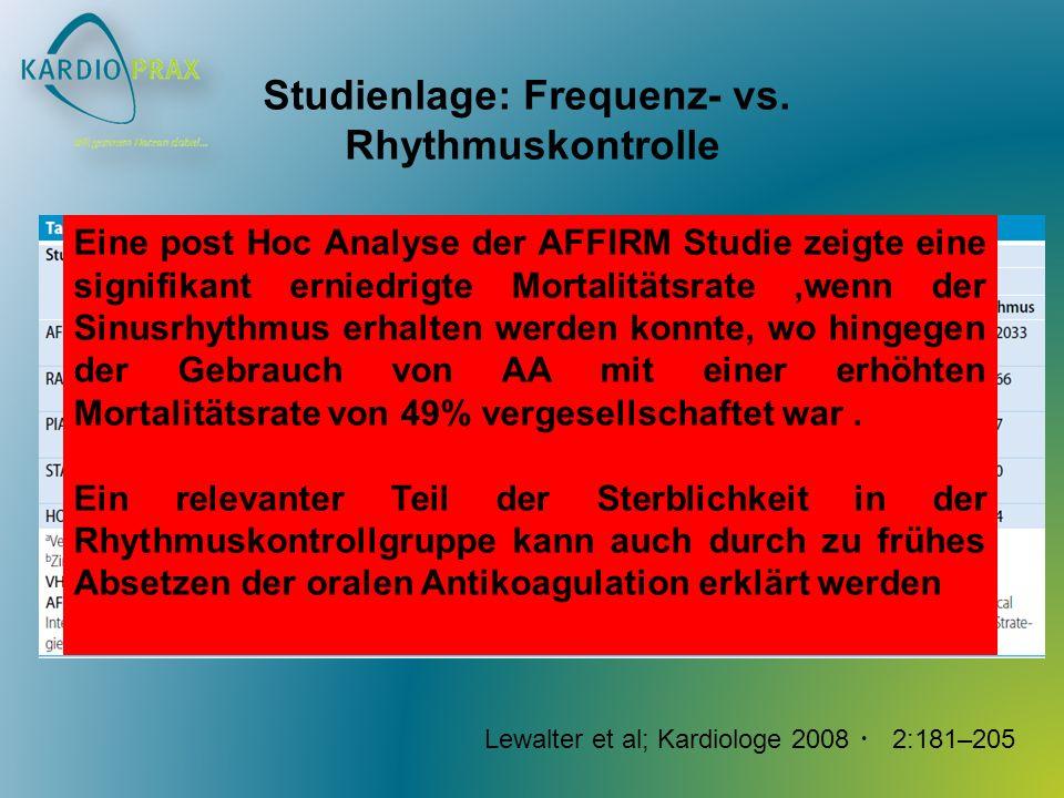 Studienlage: Frequenz- vs. Rhythmuskontrolle Lewalter et al; Kardiologe 2008 2:181–205 Eine post Hoc Analyse der AFFIRM Studie zeigte eine signifikant