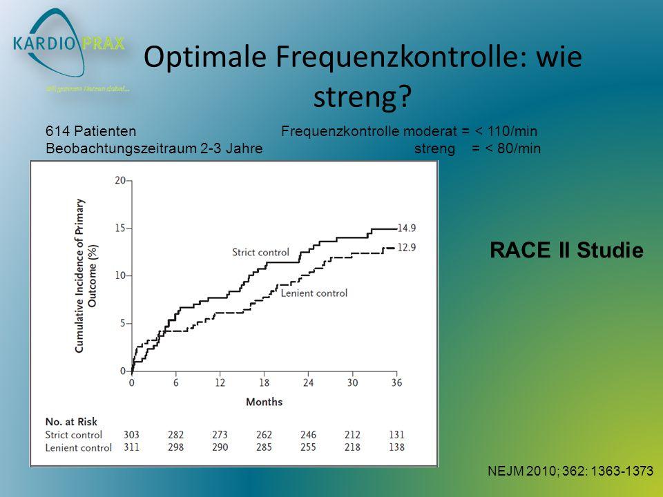 Optimale Frequenzkontrolle: wie streng? 614 Patienten Frequenzkontrolle moderat = < 110/min Beobachtungszeitraum 2-3 Jahre streng = < 80/min NEJM 2010