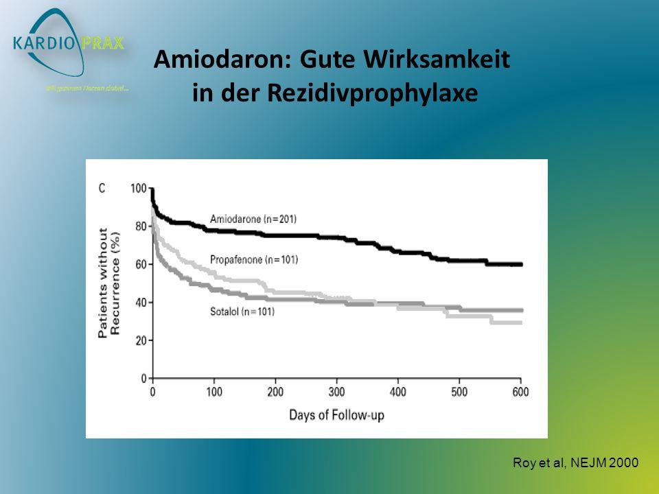 Amiodaron: Gute Wirksamkeit in der Rezidivprophylaxe Roy et al, NEJM 2000